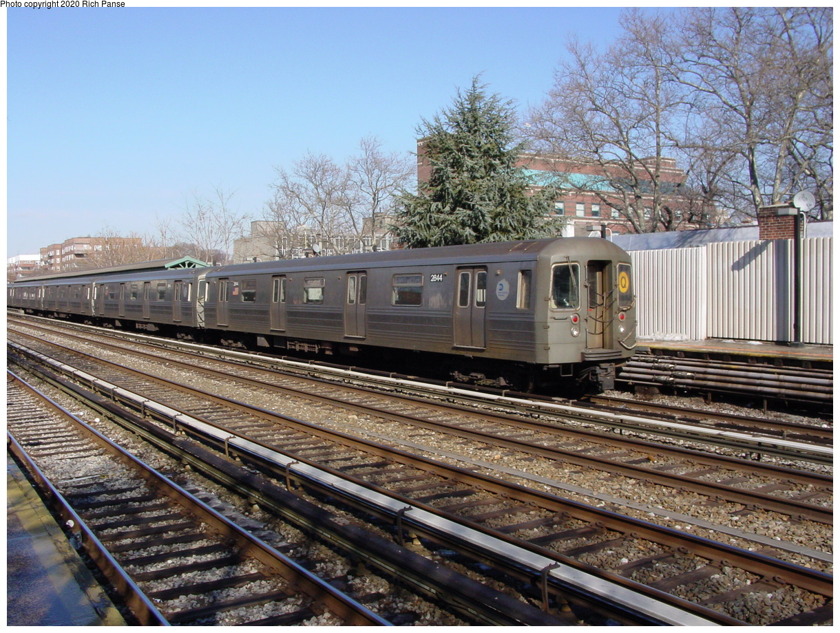 (113k, 820x620)<br><b>Country:</b> United States<br><b>City:</b> New York<br><b>System:</b> New York City Transit<br><b>Line:</b> BMT Brighton Line<br><b>Location:</b> Avenue J <br><b>Route:</b> Q<br><b>Car:</b> R-68 (Westinghouse-Amrail, 1986-1988)  2844 <br><b>Photo by:</b> Richard Panse<br><b>Date:</b> 2/4/2004<br><b>Viewed (this week/total):</b> 2 / 2965