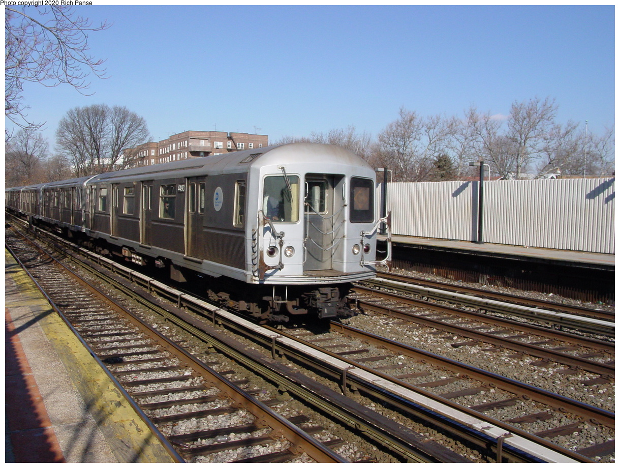 (105k, 820x620)<br><b>Country:</b> United States<br><b>City:</b> New York<br><b>System:</b> New York City Transit<br><b>Line:</b> BMT Brighton Line<br><b>Location:</b> Avenue J <br><b>Route:</b> Q<br><b>Car:</b> R-40M (St. Louis, 1969)  4493 <br><b>Photo by:</b> Richard Panse<br><b>Date:</b> 2/4/2004<br><b>Viewed (this week/total):</b> 3 / 3461