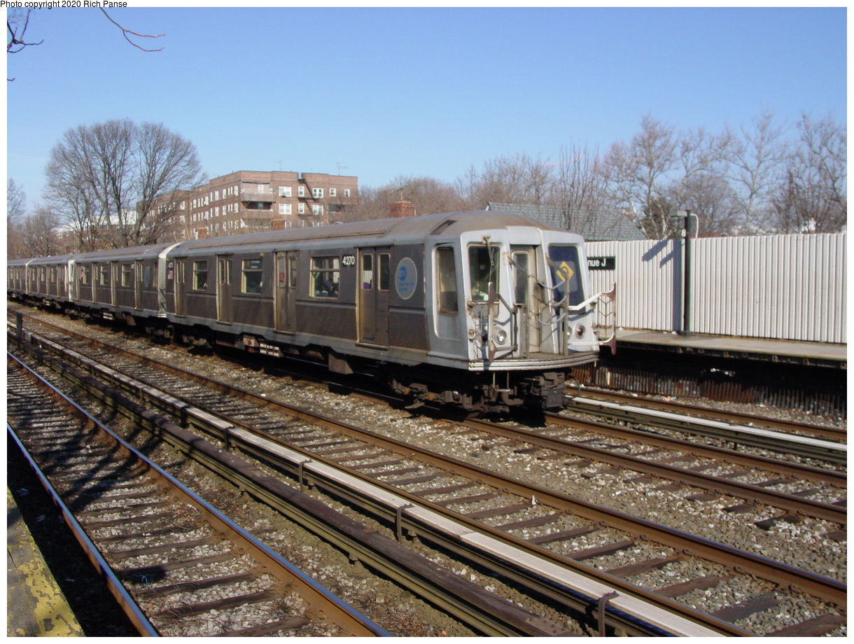 (101k, 820x620)<br><b>Country:</b> United States<br><b>City:</b> New York<br><b>System:</b> New York City Transit<br><b>Line:</b> BMT Brighton Line<br><b>Location:</b> Avenue J <br><b>Route:</b> Q<br><b>Car:</b> R-40 (St. Louis, 1968)  4270 <br><b>Photo by:</b> Richard Panse<br><b>Date:</b> 2/4/2004<br><b>Viewed (this week/total):</b> 0 / 2617