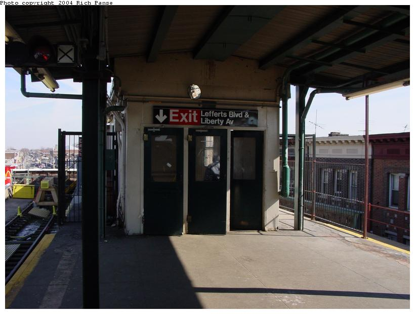 (66k, 820x620)<br><b>Country:</b> United States<br><b>City:</b> New York<br><b>System:</b> New York City Transit<br><b>Line:</b> IND Fulton Street Line<br><b>Location:</b> Lefferts Boulevard <br><b>Photo by:</b> Richard Panse<br><b>Date:</b> 2/10/2004<br><b>Notes:</b> Platform exit<br><b>Viewed (this week/total):</b> 1 / 4025