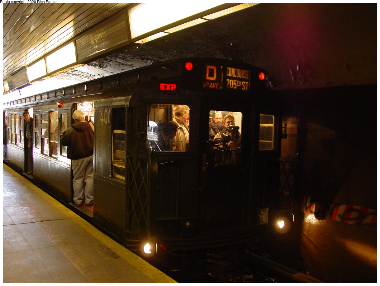 (81k, 820x620)<br><b>Country:</b> United States<br><b>City:</b> New York<br><b>System:</b> New York City Transit<br><b>Line:</b> BMT Brighton Line<br><b>Location:</b> Church Avenue <br><b>Route:</b> Fan Trip<br><b>Car:</b> R-4 (American Car & Foundry, 1932-1933) 401 <br><b>Photo by:</b> Richard Panse<br><b>Date:</b> 2/28/2004<br><b>Viewed (this week/total):</b> 0 / 3572