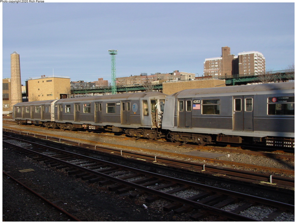(75k, 820x620)<br><b>Country:</b> United States<br><b>City:</b> New York<br><b>System:</b> New York City Transit<br><b>Location:</b> Coney Island Yard<br><b>Car:</b> R-40 (St. Louis, 1968)  4209/4353 <br><b>Photo by:</b> Richard Panse<br><b>Date:</b> 2/28/2004<br><b>Viewed (this week/total):</b> 2 / 3792