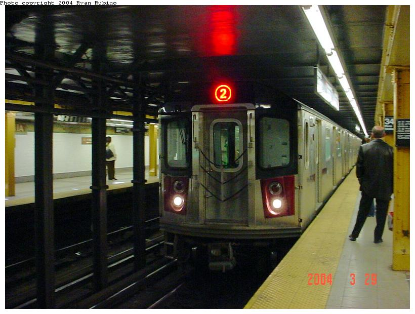 (84k, 820x620)<br><b>Country:</b> United States<br><b>City:</b> New York<br><b>System:</b> New York City Transit<br><b>Line:</b> IRT West Side Line<br><b>Location:</b> 34th Street/Penn Station <br><b>Route:</b> 2<br><b>Car:</b> R-142 or R-142A (Number Unknown)  <br><b>Photo by:</b> Ryan Rubino<br><b>Date:</b> 3/29/2004<br><b>Viewed (this week/total):</b> 1 / 7068
