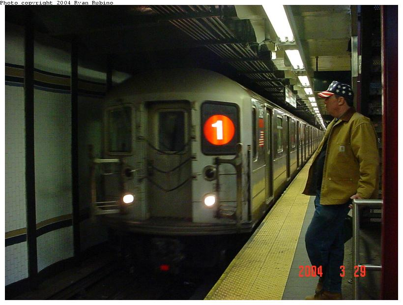 (71k, 820x620)<br><b>Country:</b> United States<br><b>City:</b> New York<br><b>System:</b> New York City Transit<br><b>Line:</b> IRT West Side Line<br><b>Location:</b> 72nd Street <br><b>Route:</b> 1<br><b>Car:</b> R-62A (Bombardier, 1984-1987)  2405 <br><b>Photo by:</b> Ryan Rubino<br><b>Date:</b> 3/29/2004<br><b>Viewed (this week/total):</b> 1 / 5094