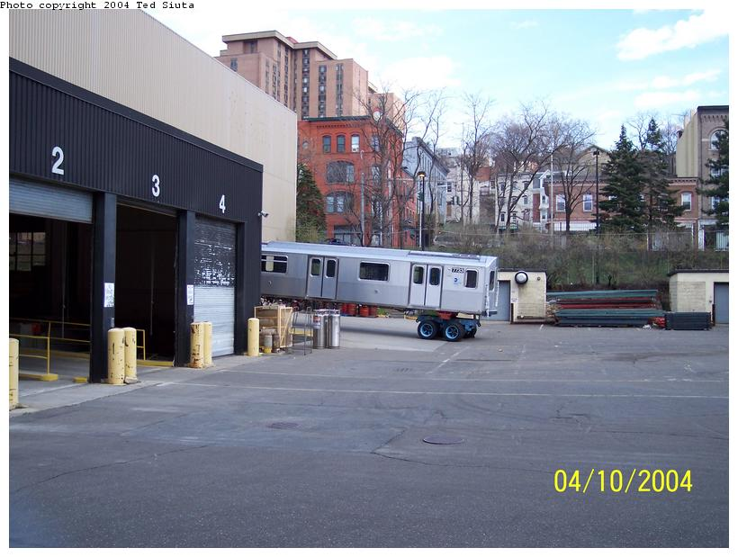 (86k, 820x619)<br><b>Country:</b> United States<br><b>City:</b> New York<br><b>System:</b> New York City Transit<br><b>Location:</b> Kawasaki Plant, Yonkers, NY<br><b>Car:</b> R-142A (Supplemental Order, Kawasaki, 2003-2004)  7733 <br><b>Photo by:</b> Ted Siuta<br><b>Date:</b> 4/10/2004<br><b>Viewed (this week/total):</b> 1 / 5018