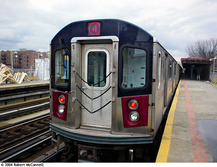 (97k, 700x539)<br><b>Country:</b> United States<br><b>City:</b> New York<br><b>System:</b> New York City Transit<br><b>Line:</b> IRT Woodlawn Line<br><b>Location:</b> Bedford Park Boulevard <br><b>Route:</b> 4<br><b>Car:</b> R-142 or R-142A (Number Unknown)  <br><b>Photo by:</b> Robert McConnell<br><b>Date:</b> 4/4/2004<br><b>Viewed (this week/total):</b> 0 / 5435