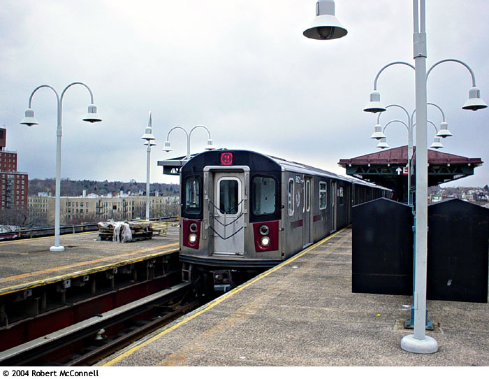 (89k, 700x542)<br><b>Country:</b> United States<br><b>City:</b> New York<br><b>System:</b> New York City Transit<br><b>Line:</b> IRT White Plains Road Line<br><b>Location:</b> Gun Hill Road <br><b>Route:</b> 2<br><b>Car:</b> R-142 or R-142A (Number Unknown)  <br><b>Photo by:</b> Robert McConnell<br><b>Date:</b> 4/4/2004<br><b>Viewed (this week/total):</b> 0 / 4627