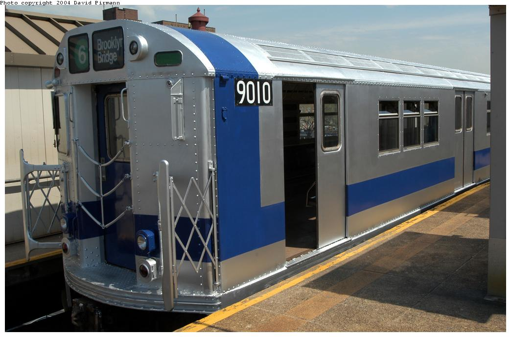 (149k, 1044x688)<br><b>Country:</b> United States<br><b>City:</b> New York<br><b>System:</b> New York City Transit<br><b>Line:</b> IRT Pelham Line<br><b>Location:</b> East 177th Street/Parkchester <br><b>Route:</b> Fan Trip<br><b>Car:</b> R-33 Main Line (St. Louis, 1962-63) 9010 <br><b>Photo by:</b> David Pirmann<br><b>Date:</b> 4/17/2004<br><b>Viewed (this week/total):</b> 1 / 3799