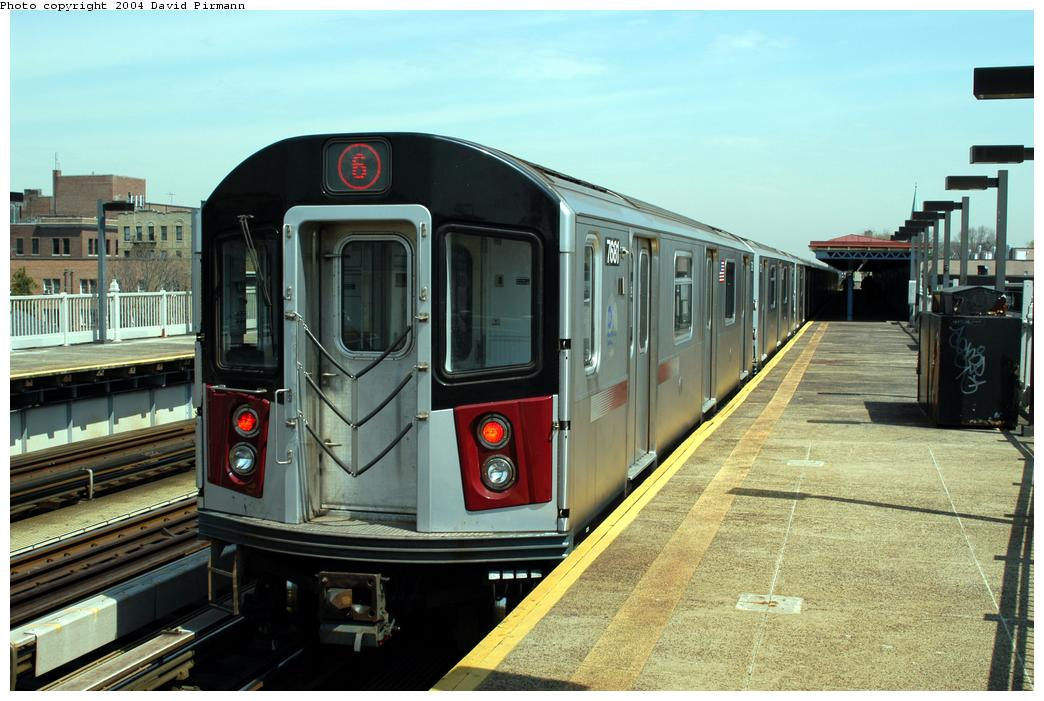(162k, 1044x701)<br><b>Country:</b> United States<br><b>City:</b> New York<br><b>System:</b> New York City Transit<br><b>Line:</b> IRT Pelham Line<br><b>Location:</b> Zerega Avenue <br><b>Route:</b> 6<br><b>Car:</b> R-142A (Option Order, Kawasaki, 2002-2003)  7681 <br><b>Photo by:</b> David Pirmann<br><b>Date:</b> 4/17/2004<br><b>Viewed (this week/total):</b> 2 / 3364