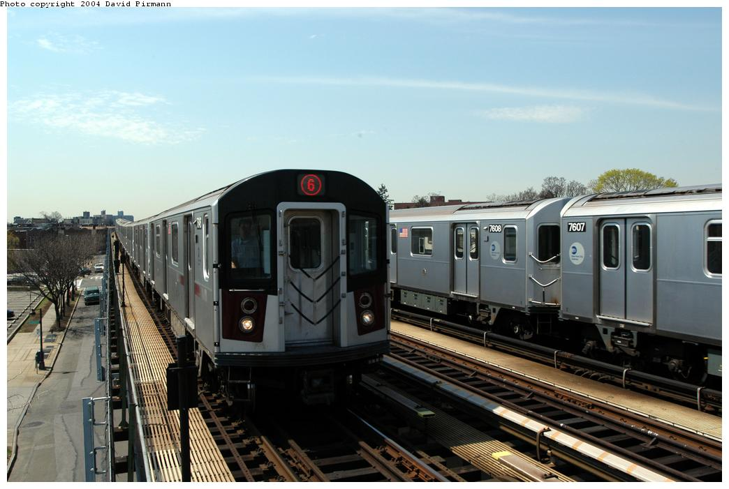 (149k, 1044x701)<br><b>Country:</b> United States<br><b>City:</b> New York<br><b>System:</b> New York City Transit<br><b>Line:</b> IRT Pelham Line<br><b>Location:</b> Zerega Avenue <br><b>Route:</b> 6<br><b>Car:</b> R-142A (Option Order, Kawasaki, 2002-2003)  7646 <br><b>Photo by:</b> David Pirmann<br><b>Date:</b> 4/17/2004<br><b>Viewed (this week/total):</b> 3 / 2897