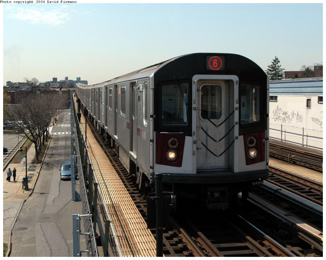 (168k, 1044x834)<br><b>Country:</b> United States<br><b>City:</b> New York<br><b>System:</b> New York City Transit<br><b>Line:</b> IRT Pelham Line<br><b>Location:</b> Zerega Avenue <br><b>Route:</b> 6<br><b>Car:</b> R-142A (Option Order, Kawasaki, 2002-2003)  7645 <br><b>Photo by:</b> David Pirmann<br><b>Date:</b> 4/17/2004<br><b>Viewed (this week/total):</b> 0 / 3802