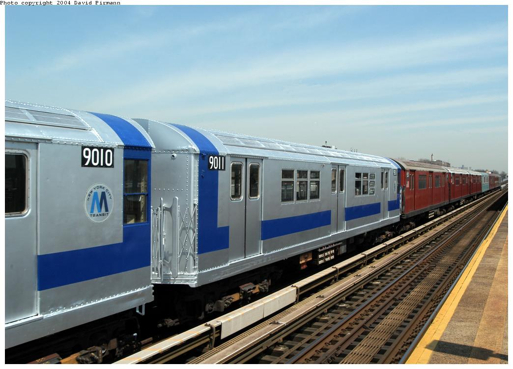 (157k, 1044x751)<br><b>Country:</b> United States<br><b>City:</b> New York<br><b>System:</b> New York City Transit<br><b>Line:</b> IRT Pelham Line<br><b>Location:</b> Zerega Avenue <br><b>Route:</b> Fan Trip<br><b>Car:</b> R-33 Main Line (St. Louis, 1962-63) 9011 <br><b>Photo by:</b> David Pirmann<br><b>Date:</b> 4/17/2004<br><b>Viewed (this week/total):</b> 5 / 5561