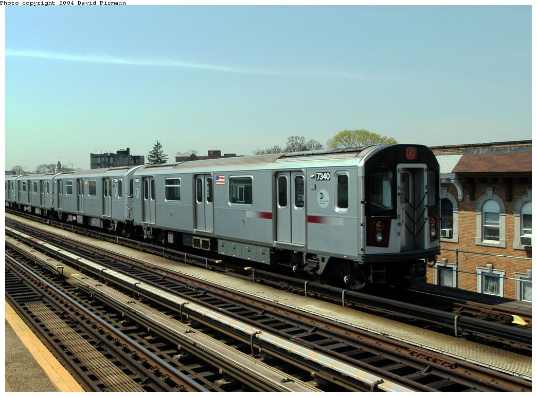 (166k, 1044x773)<br><b>Country:</b> United States<br><b>City:</b> New York<br><b>System:</b> New York City Transit<br><b>Line:</b> IRT Pelham Line<br><b>Location:</b> Zerega Avenue <br><b>Route:</b> 6<br><b>Car:</b> R-142A (Primary Order, Kawasaki, 1999-2002)  7340 <br><b>Photo by:</b> David Pirmann<br><b>Date:</b> 4/17/2004<br><b>Viewed (this week/total):</b> 2 / 2641