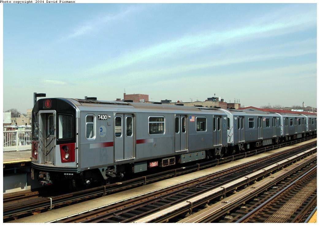 (160k, 1044x739)<br><b>Country:</b> United States<br><b>City:</b> New York<br><b>System:</b> New York City Transit<br><b>Line:</b> IRT Pelham Line<br><b>Location:</b> Zerega Avenue <br><b>Route:</b> 6<br><b>Car:</b> R-142A (Primary Order, Kawasaki, 1999-2002)  7430 <br><b>Photo by:</b> David Pirmann<br><b>Date:</b> 4/17/2004<br><b>Viewed (this week/total):</b> 0 / 2827