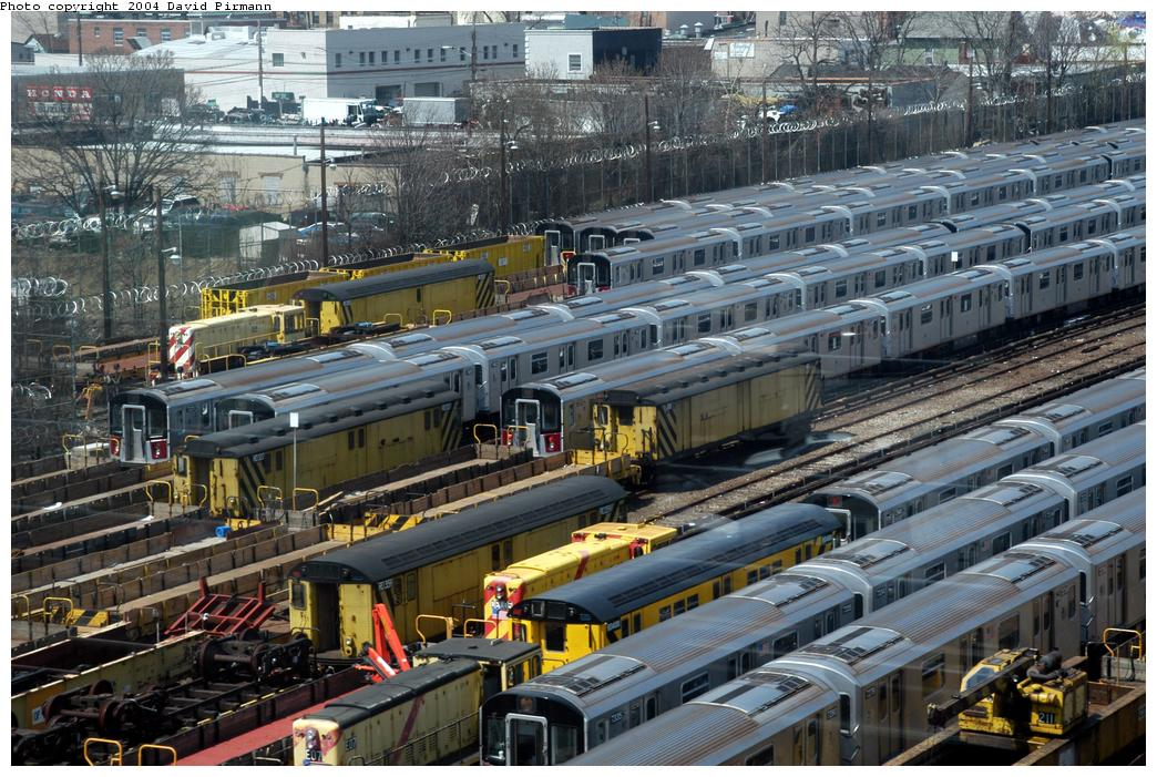 (206k, 1044x701)<br><b>Country:</b> United States<br><b>City:</b> New York<br><b>System:</b> New York City Transit<br><b>Location:</b> Westchester Yard<br><b>Photo by:</b> David Pirmann<br><b>Date:</b> 4/17/2004<br><b>Viewed (this week/total):</b> 0 / 2975