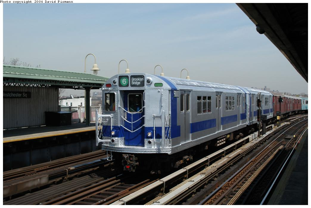 (146k, 1044x701)<br><b>Country:</b> United States<br><b>City:</b> New York<br><b>System:</b> New York City Transit<br><b>Line:</b> IRT Pelham Line<br><b>Location:</b> Westchester Square <br><b>Route:</b> Fan Trip<br><b>Car:</b> R-33 Main Line (St. Louis, 1962-63) 9010 <br><b>Photo by:</b> David Pirmann<br><b>Date:</b> 4/17/2004<br><b>Viewed (this week/total):</b> 2 / 4330
