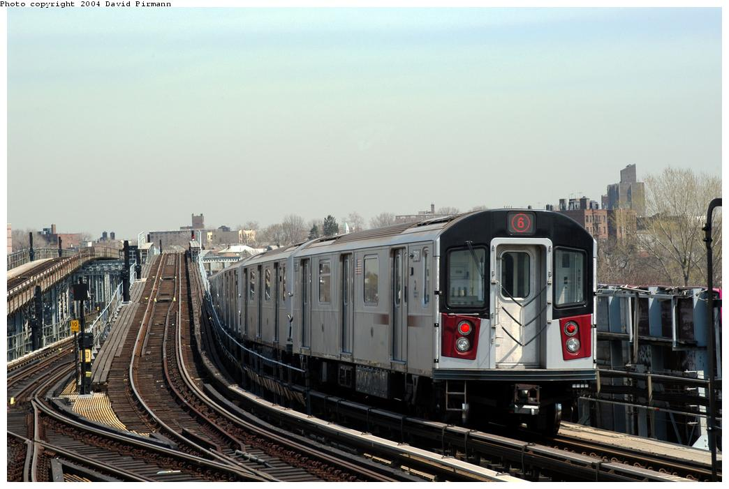 (157k, 1044x701)<br><b>Country:</b> United States<br><b>City:</b> New York<br><b>System:</b> New York City Transit<br><b>Line:</b> IRT Pelham Line<br><b>Location:</b> Westchester Square <br><b>Route:</b> 6<br><b>Car:</b> R-142A (Primary Order, Kawasaki, 1999-2002)  7601 <br><b>Photo by:</b> David Pirmann<br><b>Date:</b> 4/17/2004<br><b>Viewed (this week/total):</b> 5 / 5469