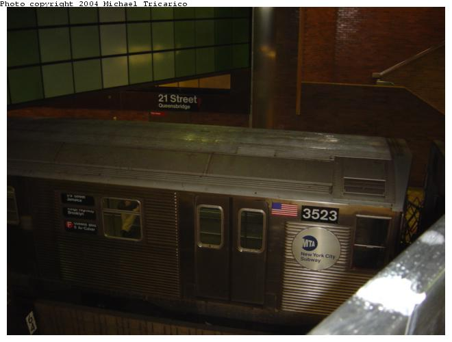 (37k, 660x500)<br><b>Country:</b> United States<br><b>City:</b> New York<br><b>System:</b> New York City Transit<br><b>Line:</b> IND 63rd Street<br><b>Location:</b> 21st Street/Queensbridge <br><b>Route:</b> F<br><b>Car:</b> R-32 (Budd, 1964)  3523 <br><b>Photo by:</b> Michael Tricarico<br><b>Date:</b> 4/7/2004<br><b>Viewed (this week/total):</b> 2 / 6582