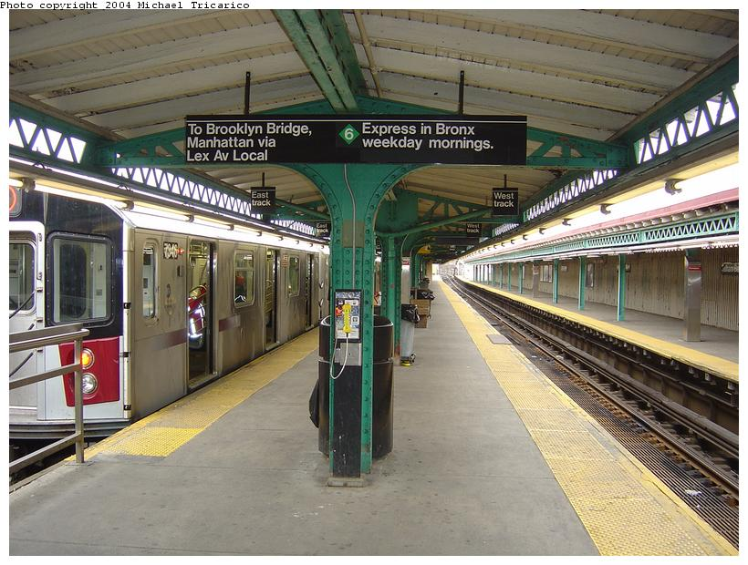 (110k, 820x620)<br><b>Country:</b> United States<br><b>City:</b> New York<br><b>System:</b> New York City Transit<br><b>Line:</b> IRT Pelham Line<br><b>Location:</b> Pelham Bay Park <br><b>Route:</b> 6<br><b>Car:</b> R-142A (Primary Order, Kawasaki, 1999-2002)  7346 <br><b>Photo by:</b> Michael Tricarico<br><b>Date:</b> 4/12/2004<br><b>Viewed (this week/total):</b> 10 / 8708