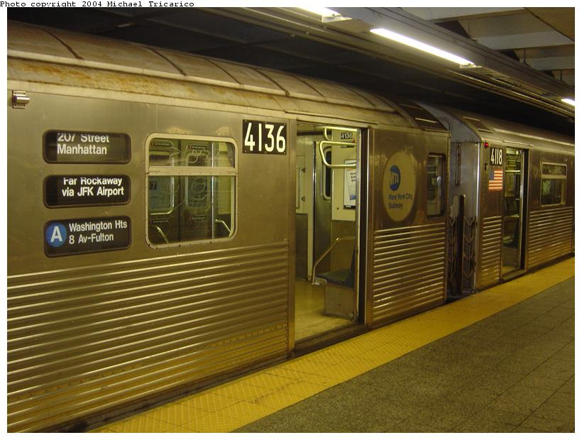 (87k, 820x620)<br><b>Country:</b> United States<br><b>City:</b> New York<br><b>System:</b> New York City Transit<br><b>Line:</b> IND 8th Avenue Line<br><b>Location:</b> 207th Street <br><b>Route:</b> A<br><b>Car:</b> R-38 (St. Louis, 1966-1967)  4136 <br><b>Photo by:</b> Michael Tricarico<br><b>Date:</b> 4/13/2004<br><b>Viewed (this week/total):</b> 1 / 7011