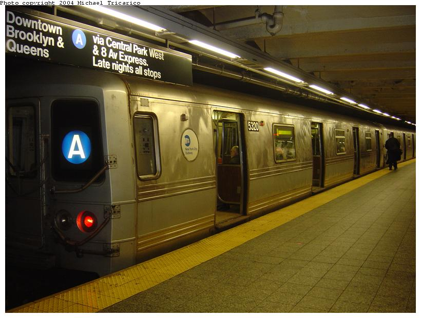 (83k, 820x620)<br><b>Country:</b> United States<br><b>City:</b> New York<br><b>System:</b> New York City Transit<br><b>Line:</b> IND 8th Avenue Line<br><b>Location:</b> 207th Street <br><b>Route:</b> A<br><b>Car:</b> R-44 (St. Louis, 1971-73) 5320 <br><b>Photo by:</b> Michael Tricarico<br><b>Date:</b> 4/13/2004<br><b>Viewed (this week/total):</b> 1 / 5991