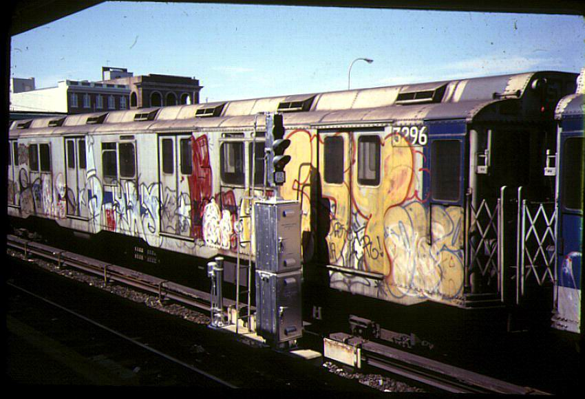 (90k, 850x580)<br><b>Country:</b> United States<br><b>City:</b> New York<br><b>System:</b> New York City Transit<br><b>Location:</b> Rockaway Park Yard<br><b>Car:</b> R-10 (American Car & Foundry, 1948) 3296 <br><b>Photo by:</b> Bernard Chatreau<br><b>Date:</b> 9/1978<br><b>Viewed (this week/total):</b> 2 / 8454