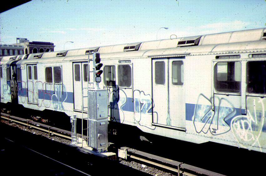 (81k, 850x564)<br><b>Country:</b> United States<br><b>City:</b> New York<br><b>System:</b> New York City Transit<br><b>Location:</b> Rockaway Park Yard<br><b>Car:</b> R-10 (American Car & Foundry, 1948) 3297 <br><b>Photo by:</b> Bernard Chatreau<br><b>Date:</b> 9/1978<br><b>Viewed (this week/total):</b> 0 / 2976