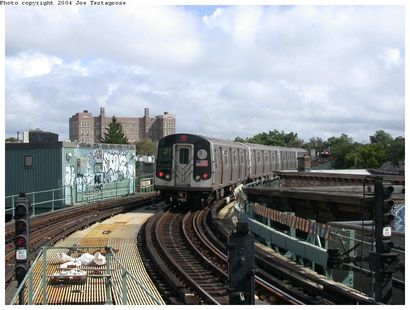 (119k, 820x620)<br><b>Country:</b> United States<br><b>City:</b> New York<br><b>System:</b> New York City Transit<br><b>Line:</b> BMT Myrtle Avenue Line<br><b>Location:</b> Seneca Avenue <br><b>Route:</b> M<br><b>Car:</b> R-143 (Kawasaki, 2001-2002) 8228 <br><b>Photo by:</b> Joe Testagrose<br><b>Date:</b> 9/27/2003<br><b>Viewed (this week/total):</b> 0 / 3946