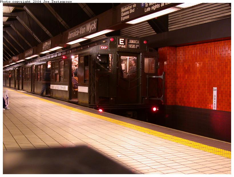 (117k, 820x620)<br><b>Country:</b> United States<br><b>City:</b> New York<br><b>System:</b> New York City Transit<br><b>Line:</b> IND Queens Boulevard Line<br><b>Location:</b> Jamaica/Van Wyck <br><b>Route:</b> Fan Trip<br><b>Car:</b> R-1 (American Car & Foundry, 1930-1931) 100 <br><b>Photo by:</b> Joe Testagrose<br><b>Date:</b> 11/9/2003<br><b>Viewed (this week/total):</b> 0 / 4150