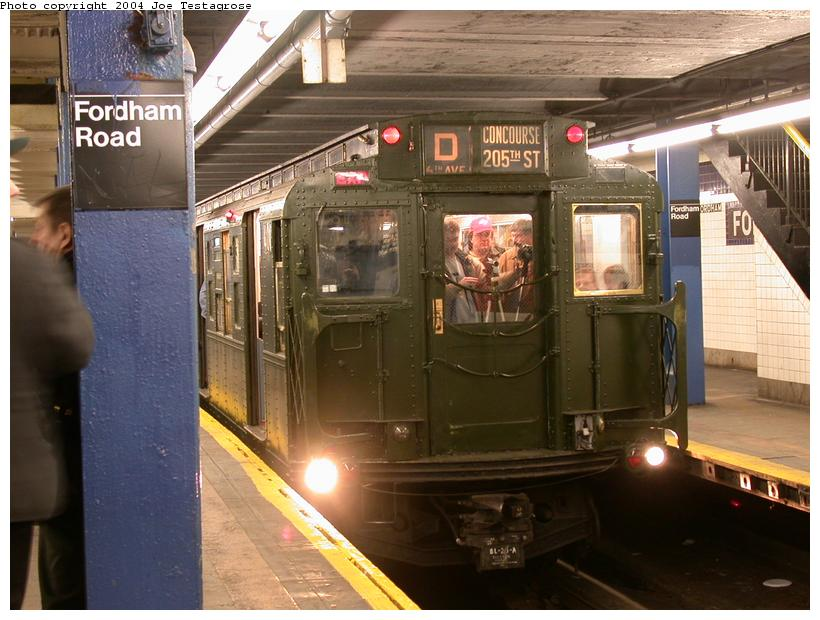 (116k, 820x620)<br><b>Country:</b> United States<br><b>City:</b> New York<br><b>System:</b> New York City Transit<br><b>Line:</b> IND Concourse Line<br><b>Location:</b> Fordham Road <br><b>Route:</b> Fan Trip<br><b>Car:</b> R-1 (American Car & Foundry, 1930-1931) 100 <br><b>Photo by:</b> Joe Testagrose<br><b>Date:</b> 2/28/2004<br><b>Viewed (this week/total):</b> 1 / 4289