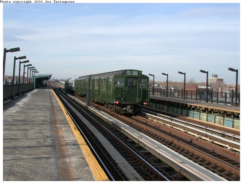 (116k, 820x620)<br><b>Country:</b> United States<br><b>City:</b> New York<br><b>System:</b> New York City Transit<br><b>Line:</b> BMT Culver Line<br><b>Location:</b> Bay Parkway (22nd Avenue) <br><b>Route:</b> Fan Trip<br><b>Car:</b> R-4 (American Car & Foundry, 1932-1933) 401 <br><b>Photo by:</b> Joe Testagrose<br><b>Date:</b> 2/29/2004<br><b>Viewed (this week/total):</b> 0 / 2705