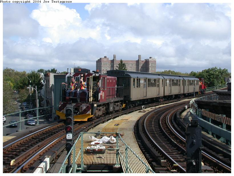 (124k, 820x620)<br><b>Country:</b> United States<br><b>City:</b> New York<br><b>System:</b> New York City Transit<br><b>Line:</b> BMT Myrtle Avenue Line<br><b>Location:</b> Seneca Avenue <br><b>Route:</b> Fan Trip<br><b>Car:</b> R-47 (SBK) Locomotive  N1 <br><b>Photo by:</b> Joe Testagrose<br><b>Date:</b> 9/27/2003<br><b>Viewed (this week/total):</b> 4 / 3881