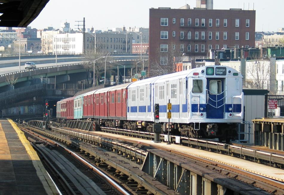 (120k, 950x653)<br><b>Country:</b> United States<br><b>City:</b> New York<br><b>System:</b> New York City Transit<br><b>Line:</b> IRT Pelham Line<br><b>Location:</b> Whitlock Avenue <br><b>Route:</b> Fan Trip<br><b>Car:</b> R-33 Main Line (St. Louis, 1962-63) 9010 <br><b>Photo by:</b> David of Broadway<br><b>Date:</b> 4/18/2004<br><b>Viewed (this week/total):</b> 1 / 3847