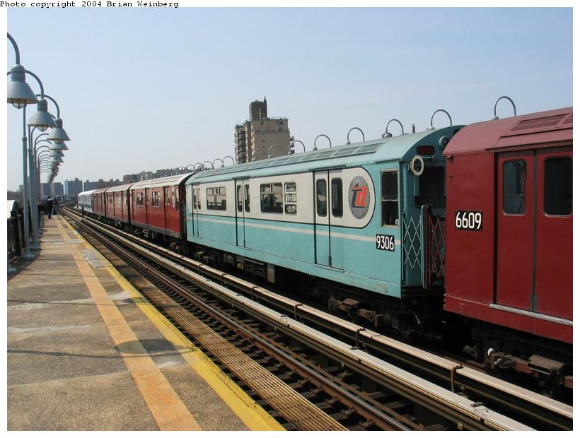 (87k, 820x620)<br><b>Country:</b> United States<br><b>City:</b> New York<br><b>System:</b> New York City Transit<br><b>Line:</b> IRT West Side Line<br><b>Location:</b> 238th Street <br><b>Route:</b> Fan Trip<br><b>Car:</b> R-33 World's Fair (St. Louis, 1963-64) 9306 <br><b>Photo by:</b> Brian Weinberg<br><b>Date:</b> 4/18/2004<br><b>Viewed (this week/total):</b> 2 / 2633
