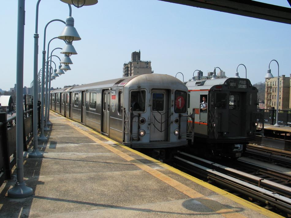 (100k, 950x713)<br><b>Country:</b> United States<br><b>City:</b> New York<br><b>System:</b> New York City Transit<br><b>Line:</b> IRT West Side Line<br><b>Location:</b> 238th Street <br><b>Route:</b> 1<br><b>Car:</b> R-62A (Bombardier, 1984-1987)  2396 <br><b>Photo by:</b> David of Broadway<br><b>Date:</b> 4/18/2004<br><b>Viewed (this week/total):</b> 4 / 2680