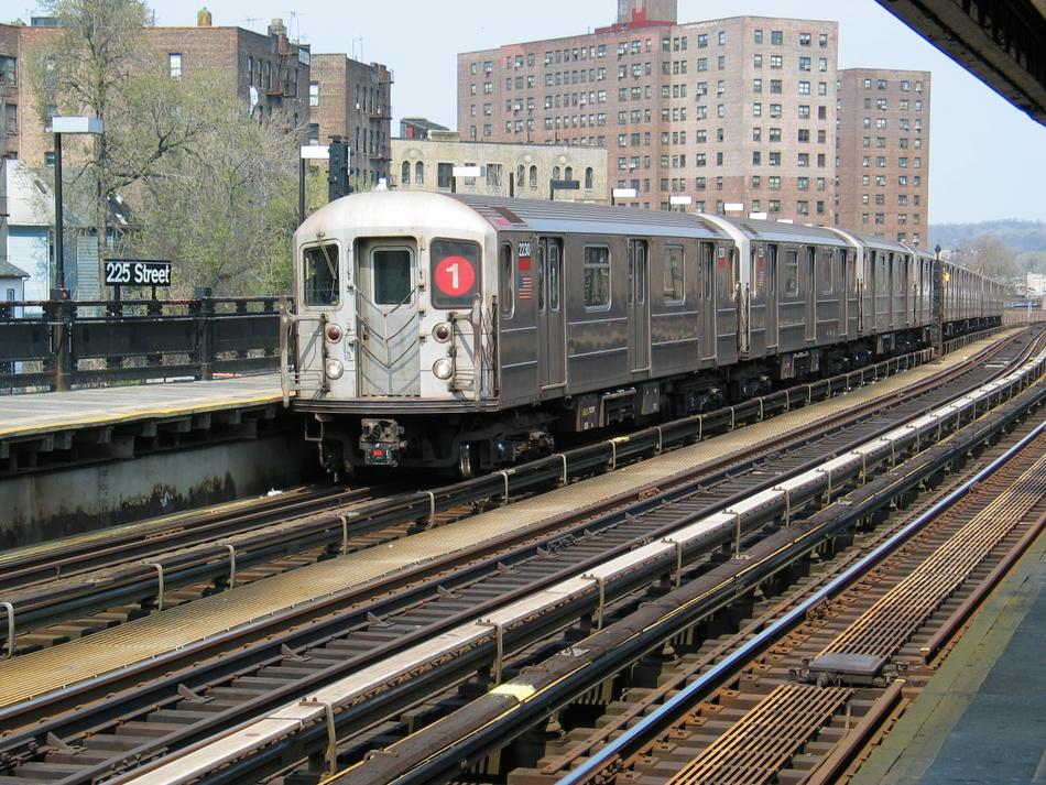 (162k, 950x713)<br><b>Country:</b> United States<br><b>City:</b> New York<br><b>System:</b> New York City Transit<br><b>Line:</b> IRT West Side Line<br><b>Location:</b> 225th Street <br><b>Route:</b> 1<br><b>Car:</b> R-62A (Bombardier, 1984-1987)  2230 <br><b>Photo by:</b> David of Broadway<br><b>Date:</b> 4/18/2004<br><b>Viewed (this week/total):</b> 2 / 3900