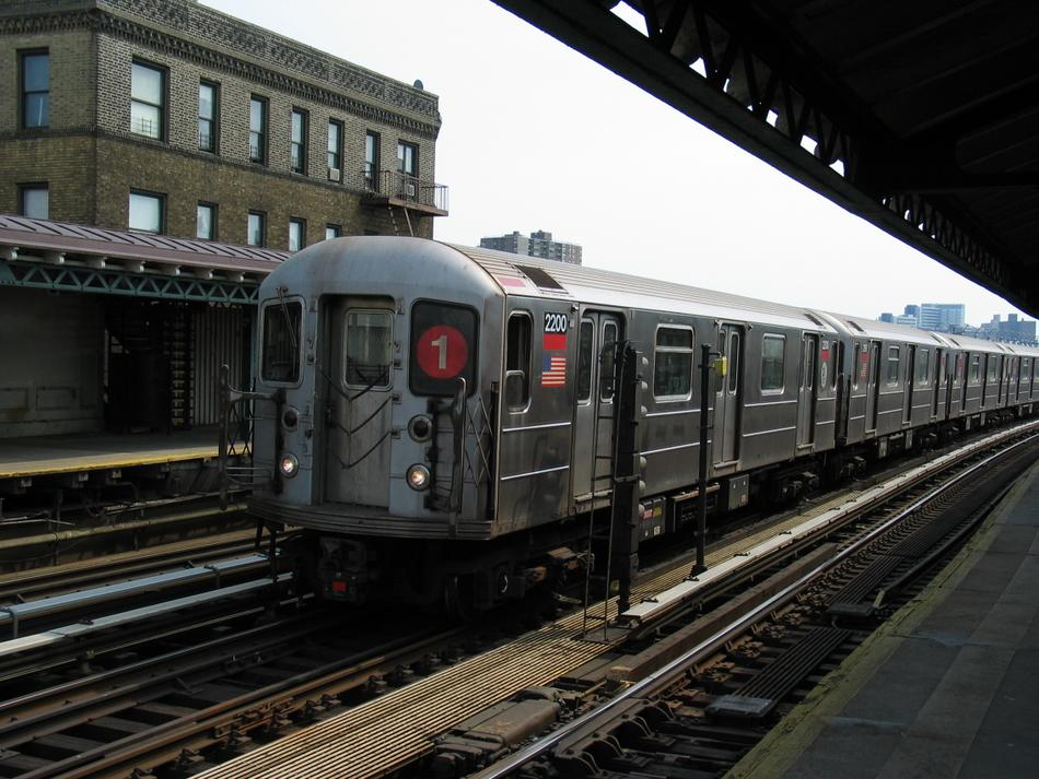 (114k, 950x713)<br><b>Country:</b> United States<br><b>City:</b> New York<br><b>System:</b> New York City Transit<br><b>Line:</b> IRT West Side Line<br><b>Location:</b> 238th Street <br><b>Route:</b> 1<br><b>Car:</b> R-62A (Bombardier, 1984-1987)  2200 <br><b>Photo by:</b> David of Broadway<br><b>Date:</b> 4/18/2004<br><b>Viewed (this week/total):</b> 1 / 2809