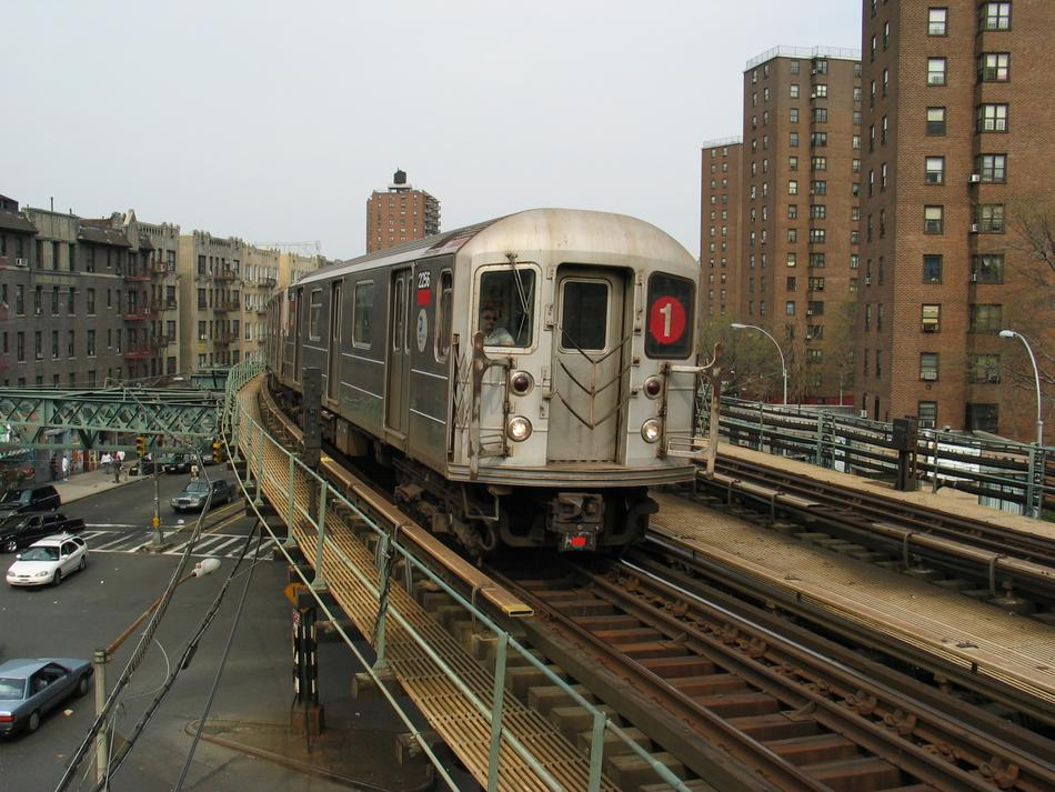 (120k, 950x713)<br><b>Country:</b> United States<br><b>City:</b> New York<br><b>System:</b> New York City Transit<br><b>Line:</b> IRT West Side Line<br><b>Location:</b> Dyckman Street <br><b>Route:</b> 1<br><b>Car:</b> R-62A (Bombardier, 1984-1987)  2256 <br><b>Photo by:</b> David of Broadway<br><b>Date:</b> 4/18/2004<br><b>Viewed (this week/total):</b> 3 / 13082