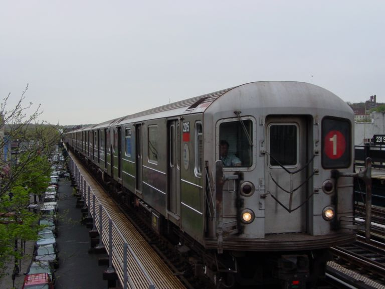 (55k, 768x576)<br><b>Country:</b> United States<br><b>City:</b> New York<br><b>System:</b> New York City Transit<br><b>Line:</b> IRT West Side Line<br><b>Location:</b> 231st Street <br><b>Route:</b> 1<br><b>Car:</b> R-62A (Bombardier, 1984-1987)  2215 <br><b>Photo by:</b> Richard Panse<br><b>Date:</b> 4/25/2004<br><b>Viewed (this week/total):</b> 2 / 3377