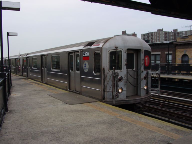 (61k, 768x576)<br><b>Country:</b> United States<br><b>City:</b> New York<br><b>System:</b> New York City Transit<br><b>Line:</b> IRT West Side Line<br><b>Location:</b> 231st Street <br><b>Route:</b> 1<br><b>Car:</b> R-62A (Bombardier, 1984-1987)  2370 <br><b>Photo by:</b> Richard Panse<br><b>Date:</b> 4/25/2004<br><b>Viewed (this week/total):</b> 1 / 4509
