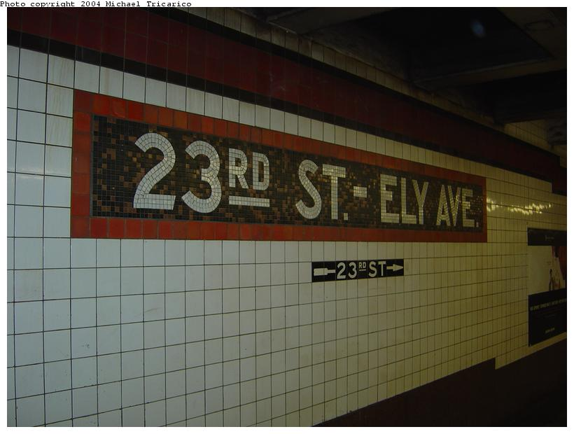 (63k, 820x620)<br><b>Country:</b> United States<br><b>City:</b> New York<br><b>System:</b> New York City Transit<br><b>Line:</b> IND Queens Boulevard Line<br><b>Location:</b> Court Square/23rd St (Ely Avenue) <br><b>Photo by:</b> Michael Tricarico<br><b>Date:</b> 4/9/2004<br><b>Viewed (this week/total):</b> 0 / 2177