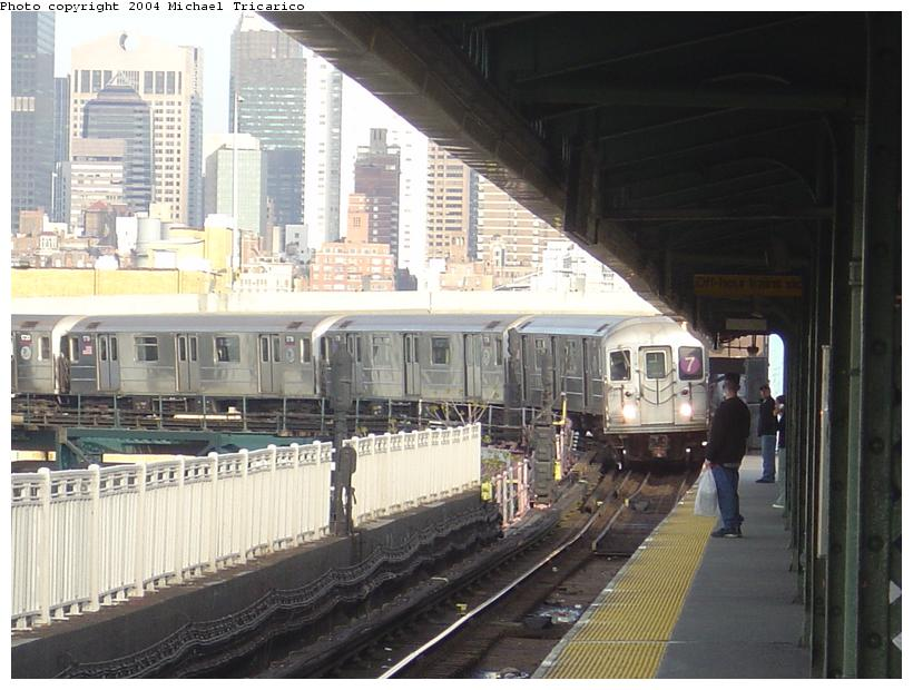 (88k, 820x620)<br><b>Country:</b> United States<br><b>City:</b> New York<br><b>System:</b> New York City Transit<br><b>Line:</b> IRT Flushing Line<br><b>Location:</b> Queensborough Plaza <br><b>Route:</b> 7<br><b>Car:</b> R-62A (Bombardier, 1984-1987)   <br><b>Photo by:</b> Michael Tricarico<br><b>Date:</b> 4/29/2004<br><b>Viewed (this week/total):</b> 2 / 4417