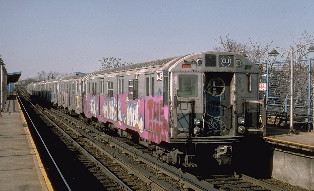 (185k, 1024x624)<br><b>Country:</b> United States<br><b>City:</b> New York<br><b>System:</b> New York City Transit<br><b>Line:</b> BMT Canarsie Line<br><b>Location:</b> New Lots Avenue <br><b>Route:</b> LL<br><b>Car:</b> R-16 (American Car & Foundry, 1955) 6485 <br><b>Photo by:</b> Ed McKernan<br><b>Collection of:</b> Joe Testagrose<br><b>Date:</b> 3/21/1977<br><b>Viewed (this week/total):</b> 2 / 4457