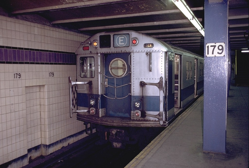 (233k, 1024x691)<br><b>Country:</b> United States<br><b>City:</b> New York<br><b>System:</b> New York City Transit<br><b>Line:</b> IND Queens Boulevard Line<br><b>Location:</b> 179th Street <br><b>Route:</b> E<br><b>Car:</b> R-16 (American Car & Foundry, 1955) 6485 <br><b>Photo by:</b> Doug Grotjahn<br><b>Collection of:</b> Joe Testagrose<br><b>Date:</b> 12/5/1971<br><b>Viewed (this week/total):</b> 3 / 4977