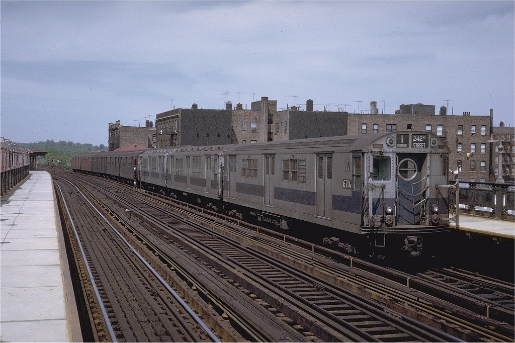 (228k, 1024x682)<br><b>Country:</b> United States<br><b>City:</b> New York<br><b>System:</b> New York City Transit<br><b>Line:</b> IRT West Side Line<br><b>Location:</b> 238th Street <br><b>Route:</b> 1<br><b>Car:</b> R-17 (St. Louis, 1955-56) 6714 <br><b>Photo by:</b> Joe Testagrose<br><b>Date:</b> 5/30/1971<br><b>Viewed (this week/total):</b> 1 / 2164