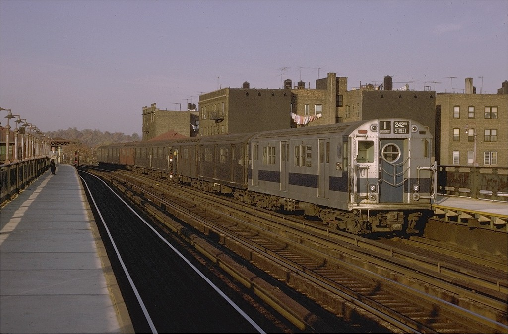 (182k, 1024x674)<br><b>Country:</b> United States<br><b>City:</b> New York<br><b>System:</b> New York City Transit<br><b>Line:</b> IRT West Side Line<br><b>Location:</b> 238th Street <br><b>Route:</b> 1<br><b>Car:</b> R-17 (St. Louis, 1955-56) 6719 <br><b>Photo by:</b> Joe Testagrose<br><b>Date:</b> 11/7/1970<br><b>Viewed (this week/total):</b> 2 / 2545
