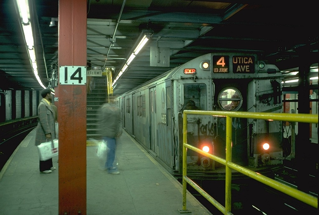(193k, 1024x690)<br><b>Country:</b> United States<br><b>City:</b> New York<br><b>System:</b> New York City Transit<br><b>Line:</b> IRT East Side Line<br><b>Location:</b> 14th Street/Union Square <br><b>Route:</b> 4<br><b>Car:</b> R-17 (St. Louis, 1955-56) 6813 <br><b>Photo by:</b> Doug Grotjahn<br><b>Collection of:</b> Joe Testagrose<br><b>Date:</b> 2/12/1977<br><b>Viewed (this week/total):</b> 1 / 6424