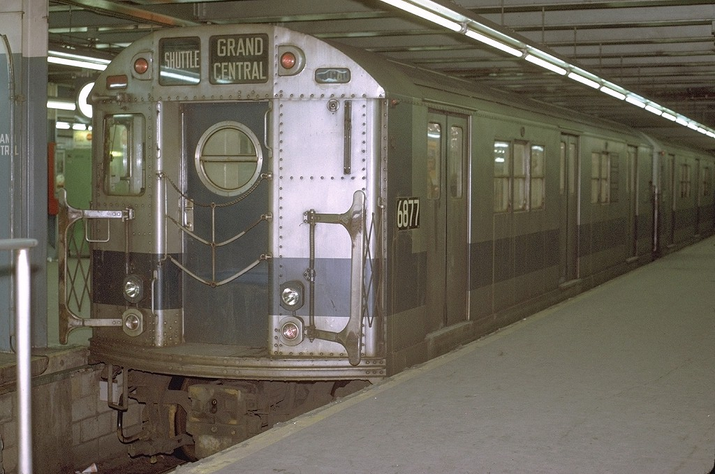 (202k, 1024x679)<br><b>Country:</b> United States<br><b>City:</b> New York<br><b>System:</b> New York City Transit<br><b>Line:</b> IRT Times Square-Grand Central Shuttle<br><b>Location:</b> Grand Central <br><b>Car:</b> R-17 (St. Louis, 1955-56) 6877 <br><b>Photo by:</b> Joe Testagrose<br><b>Date:</b> 3/28/1971<br><b>Viewed (this week/total):</b> 4 / 3206