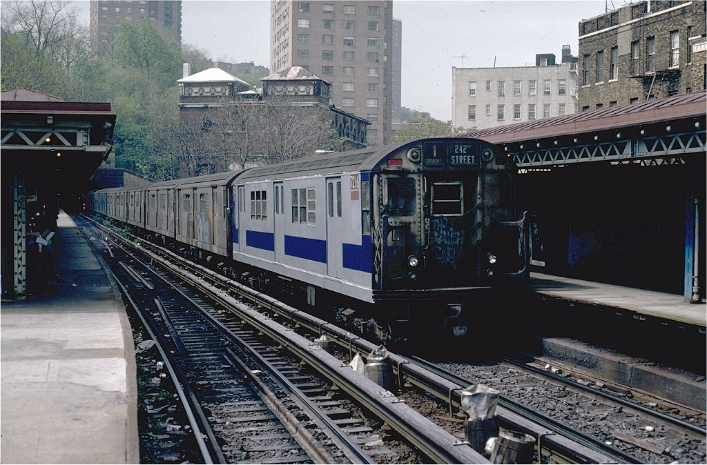 (255k, 1024x674)<br><b>Country:</b> United States<br><b>City:</b> New York<br><b>System:</b> New York City Transit<br><b>Line:</b> IRT West Side Line<br><b>Location:</b> Dyckman Street <br><b>Route:</b> 1<br><b>Car:</b> R-21 (St. Louis, 1956-57) 7216 <br><b>Photo by:</b> Doug Grotjahn<br><b>Collection of:</b> Joe Testagrose<br><b>Date:</b> 5/6/1981<br><b>Viewed (this week/total):</b> 0 / 4719