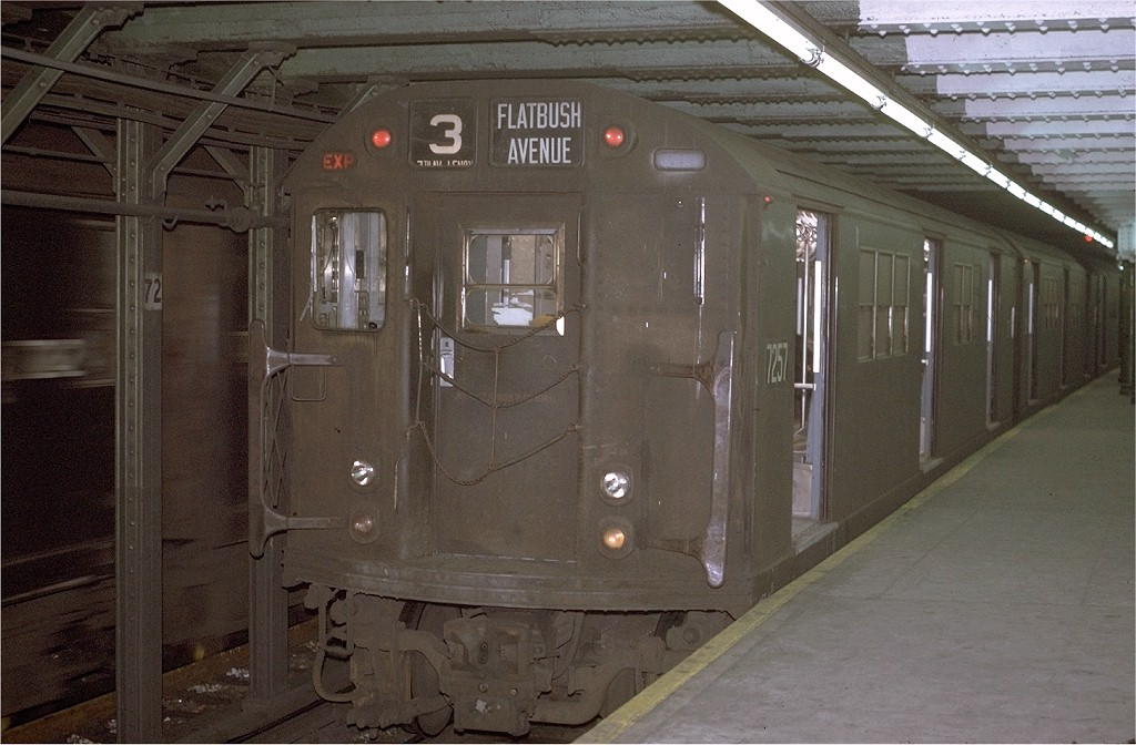 (183k, 1024x672)<br><b>Country:</b> United States<br><b>City:</b> New York<br><b>System:</b> New York City Transit<br><b>Line:</b> IRT West Side Line<br><b>Location:</b> 72nd Street <br><b>Route:</b> 3<br><b>Car:</b> R-21 (St. Louis, 1956-57) 7257 <br><b>Photo by:</b> Joe Testagrose<br><b>Date:</b> 1/2/1971<br><b>Viewed (this week/total):</b> 0 / 3030